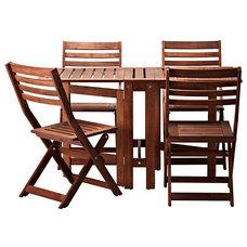 ÄPPLARÖ Table and 4 chairs, brown