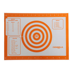 Casabella - Orange Medium Baking & Pastry Mat - Made of high-quality European silicone with reinforced edges, this baking and pastry sheet features convenient measuring marks and conversion charts. The nonskid properties make it a handy work area, while the heat-resistant design is oven-safe to boot.   16'' W x 11'' H Silicone Dishwasher safe Oven safe up to 536° F Imported