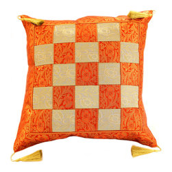 """Decorative Pillow Covers - """"Game of Chess"""" Pillow Cover in Orange and Beige color (Set of 2). Great idea for Halloween. Unique Indian design."""