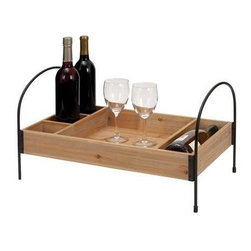 "Benzara - Wood Metal Wine Tray in Elegant Design - Wood Metal Wine Tray in Elegant Design. Add a district charm to table settings with this stylish and elegantly designed wood metal Wine Tray. It comes with a following dimensions 23""W x 13""D x 12""H."