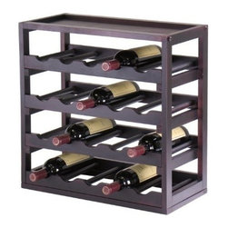 Winsome Wood - Kingston Wine Cube Tray, 20 Bottles - Our Kingston Wine Cube Tray is designed to stand alone or as a modular piece which holds 20 bottles and is stackable. This Tray is made of sturdy wood with espresso finish.