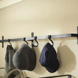 Blacksmith Wall-Mount Bar With Hooks - This wall-mounted bar holds five movable hooks and gives off an industrial vibe.