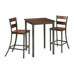 HomeStyles - 3 Piece Bistro Table - Includes table and two stools. Our Cabin Creek collection conveys a reclaimed wood vintage feel. Each piece is physically distressed by hand, providing a unique one of a kind look. The Cabin Creek 3PC Bistro Set is constructed of hardwood solids and veneers in a heavily distressed multi-step chestnut finish featuring worm holes, fly specking, small indentations, and season splitting. Additional features include a hammered metal look finished frame and contoured seats. Set includes bistro table and two bar stools. Seat height measures 30 inches high. Assembly required. Table: 30 in. W x 30 in. D x 42 in. H. Stool size: 18 in. W x 21 in. D x 45.5 in. H