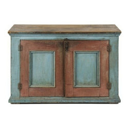 Eco Friendly Furnture and Lighting - 1810-30 TWO-DOOR PAINTED QUEBEC CUPBOARD / SERVER IN ROBIN'S EGG BLUE WITH RED TRIM, 1810-30: This little Quebec two-door cupboard / server has the nicest combination of Robin's egg blue and red paint that any collector could wish for on a piece of country furniture. This has been present since the mid-late 19th century and is over an original surface that may have originally been blue as well, but which oxidized and faded to light green, as very early blue often does on rural, North American furniture. Made between 1810 and 1830, it's simple and sturdy form has recessed paneled doors with great chamfering on the reverse and is nicely molded on the top and bottom. The top surface is scrubbed and has a very pleasant, honey-colored patina.