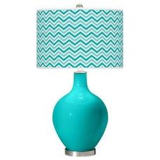 Turquoise Steel with Narrow Zig Zag Shade Ovo Table Lamp - Euro Style Lighting