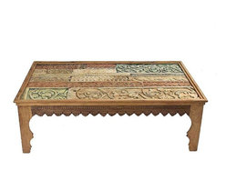 Pre-owned Antique Carved Coffee Table With Glass Top - Exotic coffee table comprised of new and vintage carved beams, covered by a glass top. All beams have their original and distinctive colors and designs.