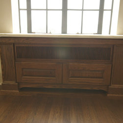 Large Traditional Radiator Cover - Elegant Radiator cover with custom furniture base, trim, edge details and wood Grill.