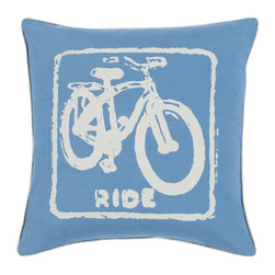 """Surya - Surya BKB-017 Pillow, 22"""" x 22"""", Down Feather Filler - Let your space ride away in striking style with the inclusion of this perfect pillow. Hand made in India of 100% cotton, the bold bike image and flawless color palette, this exquisite piece effortlessly embodies a unique sense of trend worthy design from room to room within any home decor."""