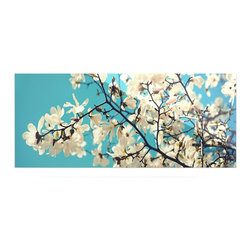 """Kess InHouse - Sylvia Cook """"White Magnolias"""" Aqua White Metal Luxe Panel (9"""" x 21"""") - Our luxe KESS InHouse art panels are the perfect addition to your super fab living room, dining room, bedroom or bathroom. Heck, we have customers that have them in their sunrooms. These items are the art equivalent to flat screens. They offer a bright splash of color in a sleek and elegant way. They are available in square and rectangle sizes. Comes with a shadow mount for an even sleeker finish. By infusing the dyes of the artwork directly onto specially coated metal panels, the artwork is extremely durable and will showcase the exceptional detail. Use them together to make large art installations or showcase them individually. Our KESS InHouse Art Panels will jump off your walls. We can't wait to see what our interior design savvy clients will come up with next."""
