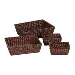 Household Essentials Banana Leaf Baskets - Set of 4 - Dark Brown - Find strength in numbers with this set of four Household Essentials Banana Leaf Baskets - Dark Brown. Put one in the bathroom for extraneous cotton balls. Place one in the kitchen to hold tasty treats. Maybe the computer desk needs organizing—plop one down and put all those pens in their place! The simple rectangular design of these banana leaf wicker baskets allows for a multitude of uses. It's like controlling your own organization army. Feel the power!About Household Essentials.Household Essentials is a bold bright and innovative company working hard to bring you the foundations and modern innovations of laundry and storage essentials. Over 200 years of experience provide the company with the vision necessary for creating the perfect products for you and the credentials worthy of winning Cradle to Cradle's Silver Certification. Let Household Essentials accompany you into the future while offering you the means to have a wonderfully efficient home today.