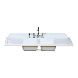 """Consigned Refinished 1949 Double Drainboard & Basin Cast Iron 60.25"""" Farm Sink - Refinished 1949 Ntl Double Drainboard Double Basin Cast Iron 60.25"""" Industrial Farmhouse Sink New Faucet & Drain Kit"""