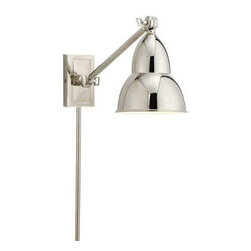 Visual Comfort - Visual Comfort S2601PN Studio 1 Light French Library Single Wall Lamp in Polishe - Eclectic lighting choices spanning traditional to contemporary styles, from Visual Comforts's design laboratory. Designer product suites and popular pricing give this line its variety, with frequent new introductions.Keyless with Hi-Lo Switch BulbBackplate: 2-1 2 x 4-1 2 Bulb Type: Halogen Collection: Studio Extension: 21 Finish: Polished Nickel Number of Lights: 1 Wattage: 50 R-20 Width: 5-3 4