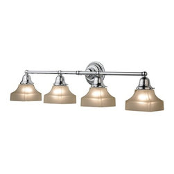 Design Classics Lighting - Four-Light Bathroom Vanity Light with Square Shades - 674-26/G9415 KIT - Traditional polished chrome 4-light bathroom light. Traditional styling, along with an Arts & Crafts feel, makes this the perfect choice for any vanity. Takes (4) 100-watt incandescent A19 bulb(s). Bulb(s) sold separately. Damp location rated.