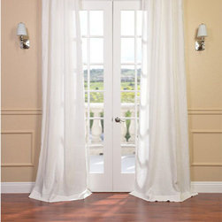 Half Price Drapes - Signature Antique Lace French Linen Sheer Single Panel Curtain Panel, 50 X 96 - - Our signature French Linen Sheer Curtain panel is second to none when it comes to quality, light diffusion, and style. This sheer panel creates privacy while still allowing sunlight into your home. The high quality linen provides and subtle texture to any room.  - Single Panel  - 3 Rod Pocket  -   - Pole Pocket  - Dry clean  - 100% Linen  - Unlined  - 50x96  - Imported  - Ivory Half Price Drapes - SHLNCH-GB1001032-96