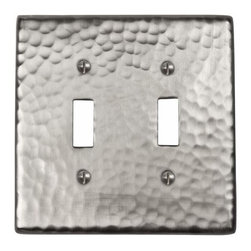 The Copper Factory - Copper Factory Copper Double Switch Plate Nickel 4 7/8 x 4 7/8 Inch - Copper Factory Copper Double Switch Plate Nickel 4 7/8 x 4 7/8 Inch