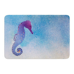 "KESS InHouse - Infinite Spray Art ""Seahorse"" Blue Painting Memory Foam Bath Mat (17"" x 24"") - These super absorbent bath mats will add comfort and style to your bathroom. These memory foam mats will feel like you are in a spa every time you step out of the shower. Available in two sizes, 17"" x 24"" and 24"" x 36"", with a .5"" thickness and non skid backing, these will fit every style of bathroom. Add comfort like never before in front of your vanity, sink, bathtub, shower or even laundry room. Machine wash cold, gentle cycle, tumble dry low or lay flat to dry. Printed on single side."