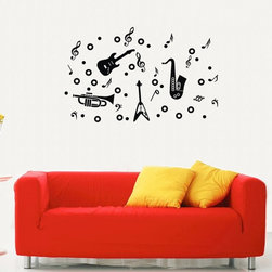 ColorfulHall Co., LTD - Guitar Saxophone Instrument with Music Note Music Wall Decals - Guitar Saxophone Instrument with Music Note Music Wall Decals