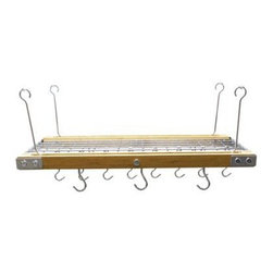 "Range Kleen - Bamboo/Stnles Stl Hanging Rack - Bamboo and Stainless Steel Hanging Pot Rack includes 8 pot hooks  4 ceiling ""J"" hooks and 4 hanging extensions  pot rack dimensions 26"" L 15"" W x 2"" H  This item cannot be shipped to APO/FPO addresses. Please accept our apologies."