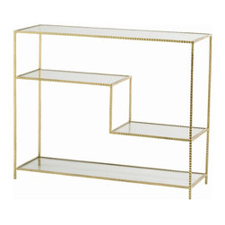 Arteriors - Worchester Console, Gold Leaf - Handsome hammered iron gets either a natural or gold-leafed finish for this console — a sleek addition to your favorite setting. The open design and additional shelving offer more room to store and display your stuff.