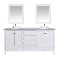 "Stufurhome - 72"" Malibu Pure White Double Sink Bathroom Vanity With 28"" Mirrors - An ideal complement to a contemporary decor, the 72 Malibu Double Sink Vanity embodies the clean edges and sophistication of modern design. The pure white cabinet, made of solid oak lends a cozy feeling to your bathroom that matches beautifully with the Carrara White Marble top. Sleek and simple stainless steel hardware dresses up the European soft-closing sliders and doors, which give you ample space to store your bathroom items."