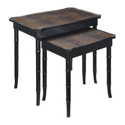Bailey Street - Boa 2 Pc Nesting Tables Set w Faux Snakeskin Tops - Faux snakeskin inserts bring an exotic look to this set of two nesting tables, a sophisticated addition to any decor. Perfect for bringing a global inspiration to your space, the tables are made of hardwood solids with legs carved to look like bamboo and are finished in a rich black with a copper colored wash for a luxurious touch. Includes large and small table. Faux bamboo legs. Top inserts of faux snakeskin. Copper wash over the table top accentuates the snakeskin inserts. Made from hardwood, bamboo and snakeskin. Ebony finish. Large Table: 14.75 in. W x 24 in. D x 22.75 in. H. Small Table: 12.5 in. W x 20 in. D x 17 in. H