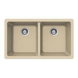 Houzer - Houzer Quartztone M-200U SAND 50/ 50Double Bowl Undermount Sink - Houzer granite kitchen sink Quartztone Series Undermount 50/50 Double Bowl - SAND