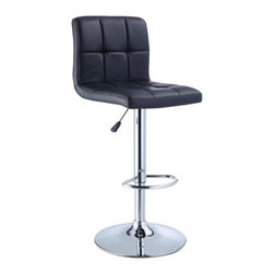 """Powell - Quilted Faux Leather Adjustable Height Bar Stool in Black - A stylish, faux leather quilted seat lends itself to the contemporary styling of this black bar stool. Finished with a round sturdy footrest and a gas-lift mechanism for convenient height adjusting, this piece combines function, comfort and style. Features: -Black quilted faux leather seat. -Chrome frame. -Unique contemporary design. -Height adjustable seat with gas lift. -BIFMA 5.1 and EN1335 standard testing passed and approved. Dimensions: -Seat height: 24"""" - 32"""". -37.25"""" - 43.38"""" H x 17.38"""" W x 19.63"""" D, 22 lbs. -Weight capacity: 300 lbs."""