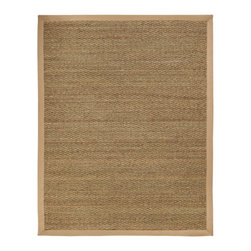 "Anji Seagrass Sabertooth Rug with Khaki Border - 8' x 10' - Sleek yet earthy, this seagrass rug will bring natural elegance to your home. Seagrass is an abundant marine grass with thick, flat and smooth fibers. It exhibits a splendid range of natural color ranging from green to brown, and is never dyed. Its fibers are extraordinarily durable making this rug a perfect fit for high traffic areas.  Available sizes: 3'x5', 4'x6', 2'-6""x8', 5'x8', 8'x10, 9'x12', 10'x14'."