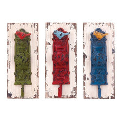 "Benzara - Wall Hook Assorted with Vibrant Colors - Set of 3 - A perfect combination and elegance and functionality , this Wood Metal Wall Hook 3 Assorted 4""W, 1 is sure to lend a dash of vibrancy and style. Designed with door-knob style accents, this assorted of hooks is lavished with vibrant colors and flaunts a weathered look. This set of three hooks is detailed with dainty metal bird motifs and carved floral accents that lend a vintage, old-world charm to its aesthetic appeal. With its robust construction, this wall hook offers versatile functionality and can be used in the kitchen, near entryways or in rooms to hang essential items and keep them close at hand. Designed from a combination of premium grade wood and top quality metal, this wall hook set is sure to last you long.; Perfect addition to simple home spaces; Premium grade wood and top quality metal; Styled with door-knob style accents; Detailed with dainty metal bird motifs; Weight: 0.9 lbs; Dimensions:4""W x 3""D x 10""H; 4""W x 3""D x 10""H; 4""W x 3""D x 10""H"