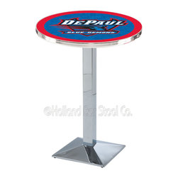 Holland Bar Stool - Holland Bar Stool L217 - Chrome Depaul Pub Table - L217 - Chrome Depaul Pub Table belongs to College Collection by Holland Bar Stool Made for the ultimate sports fan, impress your buddies with this knockout from Holland Bar Stool. This L217 DePaul table with square base provides a commercial quality piece to for your Man Cave. You can't find a higher quality logo table on the market. The plating grade steel used to build the frame ensures it will withstand the abuse of the rowdiest of friends for years to come. The structure is triple chrome plated to ensure a rich, sleek, long lasting finish. If you're finishing your bar or game room, do it right with a table from Holland Bar Stool. Pub Table (1)