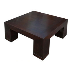 Golden Lotus - Fine Brown Fusion Square Coffee Cocktail Table - This coffee table is made of natural wood with fine smooth surface polish. Its design is a nice combination of nature and modern.
