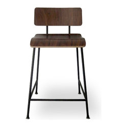 Gus Modern School Stool, Black Frame, Walnut Finish