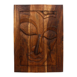 Kammika - Buddha Framed LH Sustainable Wood 23x31 inch H w Eco Friendly Livos Chestnut Oil - Our Sustainable Monkey Pod Wood Buddha Framed Left Hand 23 inch x 31 inch height Finished with eco Friendly Livos Chestnut Oil is a completely eco friendly work of art. The peaceful countenance of Buddha gazes through the window frame down from the magnificent, stately resource of wood. Livos Chestnut Oil is rubbed to a matte finish creating rich tones with medium reddish (chestnut) highlights. These natural oils are translucent, so the wood grain detail is highlighted. There is no oily feel; and cannot bleed into carpets, as it contains natural lacs. Discover the calming effect of Buddha when you display this wall panel which has been carved from joining panels. Making the panels involves separate panels that are joined on the back by bars. In order to not waste wood the nose is a separate piece that is attached by screws on the back side. After drying the separate panels may bend or warp slightly. The bars are removed; edges planed some, and then rejoined. The carving sanded to blend as well as possible. To make hanging easier, there are two embedded flush mount Keyhole hangers for a protruding screw from your wall. The panels are made of Monkey Pod wood (Acacia, Koa, Rain Tree) grown specifically for the woodcarving industry in Thailand; each branch is cut and carved to order (allowing the tree to continue growing.) Dried in solar or propane kilns, no chemicals are used in the process, ever. Each piece is dried, sanded, rubbed with Livos Chestnut oil; and then they are packaged with cartons from recycled cardboard with no plastic or other fillers. The color and grain of your piece of Nature will be unique, and may include small checks or cracks that occur when the wood is dried. Sizes are approximate. Products could have visible marks from tools used, patches from small repairs, knot holes, natural inclusions or holes. There may be various separations or cracks on your piece when it arrives. There may be some slight variation in size, color, texture, and finish.Only listed product included.