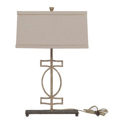 Gabby - Annette Lamp - Simple and stylish, this gilded metal lamp has a rustic, vintage style iron base and rectangular linen shade with gold piping. The modern geometric shape with an antique finish combines the old and new for a nice transitional pairing.