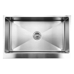 """Ukinox - Ukinox RSFS840 Apron Front Single Bowl Stainless Steel Kitchen Sink - Ukinox's high-end stainless steel sinks are known for their superior functionality, durability, and ability to delight the designer in all of us. The Ukinox RSFS840 sink is a large single bowl apron-front sink with a straight front and 15-degree corners that allow for easy cleaning. This sink is a great fit for contemporary or traditional style kitchens.  Features: Premium single bowl stainless steel kitchen sink. Sound absorbing pads and special paint applied to the underside of the sink to dampen sound. Fine quality sink bowl formed of 16 gauge nickel bearing stainless steel. Made in Europe. Sinks include all basket strainers, mounting hardware and cut-out template. Standard 3-1/2"""" drain opening compatible with most garbage disposal systems. Specifications: Total Product Length: 33 in. Total Product Width: 21 in. Sink Depth: 10 in. Sink Gauge: 16. Product Weight: 44 lbs. Material: Stainless Steel. Installation Type: Undermount. Number of Basins: Single Basin. cUPC Certified?: Yes."""