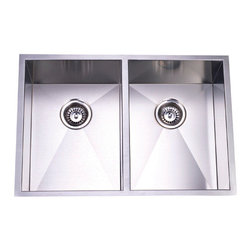 Kingston Brass - Double Bowl Undermount Kitchen Sink - This double bowl undermount kitchen sink is designed to comply with any type of look for your kitchen--modern or traditional. The sink consists of two equal-sized, soft-curved, square-shaped basins made of stainless steel, each with a 3-1/2in. drain hole 9in. from the top of the platform. The sink is also fully protected by a heavy-duty sound deadening pad to minimize noise while washing appliances in the sink.
