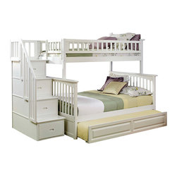 Columbia Staircase Bunk Bed Twin over Full with Trundle in White - Gorgeous, beautiful, interesting and incredibly comfortable bunk bed. This bed - perfect for those who like to multi-functional furniture. This bed has a comfortable trundle. Stairs are made of boxes into which you can add things. With its 26 steel reinforcement points and two 14 piece slat kits, this bed is as sturdy as they come. You will not regret this purchase.