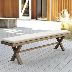 Jardine Bench Cushion - I would keep my outdoor bench and chair cushions a simple cream color to offset bolder patterns and colors in the accessories, such as the umbrella, plates and glasses.