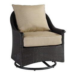 Ballard Designs - Amalfi Swivel Glider Club Chair - Coordinates with our Amalfi Outdoor Collection. Basic tan cushions included. Extremely strong, yet light enough for easy placement. Assembly required. Replacement cushions available. Requires 1 replacement cushion per chair. This ultra-comfortable Swivel Glider Club Chair is designed as a cozy, contrasting companion to our best-selling Amalfi deep seating collection. Frame is crafted of rustproof, tubular cast aluminum and covered in naturally textured, all-weather wicker to resist fading and mildew.Amalfi Swivel Glider Club Chair features: . . . . . Use of an outdoor furniture cover is recommended to extend the life of your piece.
