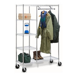 Heavy Duty Urban Valet - Honey-Can-Do SHF-01567 Heavy Duty Urban Valet, Chrome. Create visible, accessible storage space instantly with Honey-Can-Do industrial shelving systems. Contemporary chrome finish and sturdy steel frame make this unit the perfect blend of style and functionality. Durable enough for the mudroom, garage, or basement; this unit is both a shelving unit and garment rack. Rolling casters give mobility to this unit. The no-tool assembly allows you to construct in minutes a shelving unit that will last for years.