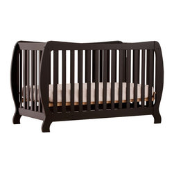 Storkcraft - Monza II Fixed Side Convertible Crib - A throwback to the retro modern design era of the mid-twentieth century, the Monza II Fixed Side Convertible Crib by Stork Craft Furniture is sure to be a welcome addition to your nursery. The curved edges, clean detailing and bowed posts create a truly dramatic piece. All four sides are stationary and include an adjustable three position mattress support base to add to the security and stability of this epoch crib. This crib will grow with your child as it converts from a standard crib to a full-size bed. Complete your nursery look by adding complimentary accessories by Stork Craft. Features: -Convert from a full size crib to a full-size bed (rails not included).-Adjustable three position mattress support.-All four sides are stationary to add to the security and stability.-Meets or exceeds all U.S. and Canadian safety standards.-JPMA certified.-Solid wood and wood product construction.-Monza II collection.-Collection: Monza II.-Distressed: No.Dimensions: -36.02'' H x 29.53'' W x 59.49'' D, 48.5 lbs.-Overall Product Weight: 48.5 lbs.Warranty: -1 Year limited manufacturer's warranty.