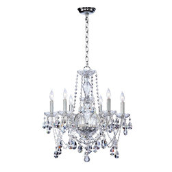 Quorum Lighting - Quorum Lighting Bohemian Katerina Traditional Chandelier X-415-6-036 - Create a romantic environment with Bohemian Katerina Traditional chandelier. This lovely piece features dangling clear crystals attach to a curving arm. The crystals beads are draped over the frame to create a curtain of glistening crystals. For additional complexity, intricate details are displayed in the bobeche and center body of the chandelier.
