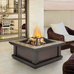 Real Flame - Real Flame Alderwood Outdoor Fire Pit - Classic styling and neutral slate tile top bring functional wood burning ambiance to your outdoor environment. This fire pit includes a spark screen,log poker tool and a vinyl protective storage cover.