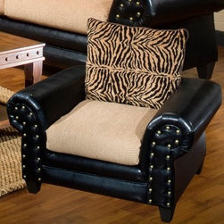 Chelsea Home Zoie Chair - Denver Black / Delray Camel / Tiger Gold - Fans of tiger print-themed furniture will love having this fashionable Chelsea Home Zoie Chair - Denver Black / Delray Camel / Tiger Gold to display – and sit on in comfort – inside their similarly-themed living room, lounge area or den. Specifically designed as the match to Chelsea's larger Zoie Sofa and Loveseat models, this spacious 53-inch-wide chair fits well into any room with cat print-themed furniture while offering a soft and comfortable landing pad on which to watch television or converse with friends during cocktail parties. Its frame was constructed of solid wood with tapered legs for added stability, and is covered in a durable and slick black vinyl upholstery. The seat cushion was constructed from 1.8 density foam and the back seat – the true star of this party – comes in a familiar tiger print design. About Chelsea Home FurnitureProviding home elegance in upholstery products such as recliners, stationary upholstery, leather, and accent furniture including chairs, chaises, and benches is the most important part of Chelsea Home Furniture's operations. Bringing high quality, classic and traditional designs that remain fresh for generations to customers' homes is no burden, but a love for hospitality and home beauty. The majority of Chelsea Home Furniture's products are made in the USA, while all are sought after throughout the industry and will remain a staple in home furnishings.