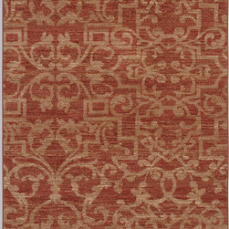 Karastan - Karastan Sierra Mar 35505-33017 (French Quarter Henna) 8' x 10' Rug - Comfortable, weathered, easy to live with color, is the signature style of the Sierra Mar collection, with relaxed patterns that complement both traditional and modern design. Woven in the U.S.A., the pure New Zealand worsted wool yarns have been specially twisted and space-dyed to create artful color 'stria' reminiscent of fine hand woven 'Peshawar' rugs.