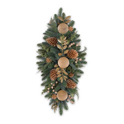 """Balsam Hill - 36"""" BH Noble Fir Gilded Artificial Christmas Centerpiece - Unlit - Captivate the imagination of your guests with the golden majesty of our 36-inch Balsam Hill Noble Fir Gilded Artificial Christmas Centerpiece � Unlit. Each one of its 122 tips is fashioned using our exclusive True Needle™ technology to achieve a stunning level of realism that other holiday decorations cannot match. Reminiscent of the lavish Rococo style of France, this masterfully crafted artificial Christmas swag features a complement of golden pine cones, berries, and eucalyptus leaves. Enjoy an opulent holiday celebration in your home with this glittering decorated centerpiece.Balsam Hill's mission is to create the world's most beautiful and realistic artificial Christmas trees. We are committed to providing our customers with a picture-perfect holiday. With options like remote-controlled pre-strung lights, our luxurious trees will let you sit back and enjoy Christmas to the fullest, this year and for years to come. Our trees are designed using branches from real trees, and our exclusive True Needle™ technology creates the most realistic looking and feeling branch tips. You and your guests may not believe that your gorgeous Balsam Hill Christmas tree is artificial. Balsam Hill's trees have won awards for their realism and have been featured in movies, television shows, and celebrity homes. Our wide range of styles and sizes ensures you will be able to find a tree that fits perfectly in your home. We also have a range of beautiful wreaths and garlands to put the finishing touches on your home this holiday season."""