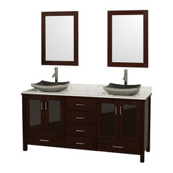 Wyndham Collection - Lucy Espresso with White Carrera Marble Top with Black Granite Sink - The Lucy Double Bathroom Vanity by Wyndham Collection is as beautiful as it is functional. The modern design puts a visual emphasis on clean lines, luxurious natural marble, abundant storage for two, and is at home in almost every bathroom decor.