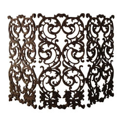 "Pre-owned Beautiful Ornate Wrought Iron Fireplace Screen - An ornate wrought iron fireplace screen. The screen features three panels hinged together. It is beautifully designed with dragons and flowers in an Art Nouveau style. It would look fantastically artful hung on a wall or placed in front of your fireplace.    Overall dimensions are 48"" X 33"" and each panel measures 16"" wide."