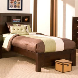 Alpine Furniture - Solana 3-Pc Bedroom Set (Queen) - Choose Bed Size: QueenIncludes platform bed, nightstand and chest. Bookcase headboard bed with three open shelves. Complete set of slats. Box spring not required. Nightstand with two drawers. Chest with six drawers. Six months warranty. Made from select solids and veneer. Cappuccino finish. Made in Indonesia. Twin bed: 83.25 in. L x 41.5 in. W x 47.25 in. H. Full bed: 83.25 in. L x 56.25 in. W x 47.25 in. H. Queen bed: 87.5 in. L x 63 in. W x 47.25 in. H. California king Bed: 93.5 in. L x 75.5 in. W x 47.25 in. H. Eastern king bed: 88.25 in. L x 79 in. W x 47.25 in. H. Nightstand: 24 in. W x 19 in. D x 24 in. H. Chest: 35.5 in. W x 18.5 in. D x 44 in. H