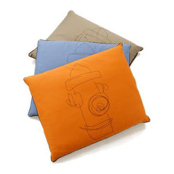 """For The Dogs - Hydrant Pillow Pet Bed - New from For The Dogs  the elegant, whimsical and irresistible Hydrant bed. This soft and comfortable dog bed features a removable and machine-washable slipcover and is available in two sizes and three fabulous colors. Features: -100% cotton fabric cover. -Polyester fiber fill. -100% hypoallergenic. -Removable, machine-washable cover. -Available in Blue (Brown), Brown (Off White), Khaki (Brown), and Orange (Brown) . * Top color listed first, accent color (back side and hydrant design) in parentheses Size Dimensions Pet Weight Small 24"""" W 29"""" L Up to 35 lbs Large 29"""" W x 36"""" L 35+ lbs"""